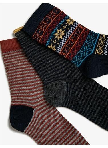 Koton Erkek Çocuk 3'lü Pamuklu Desenli Çorap Seti Kahve